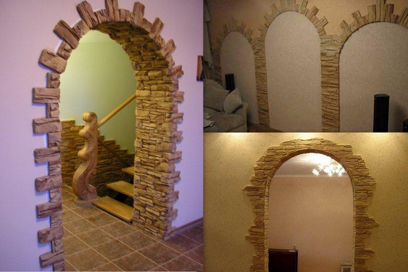 Отделка арки декоративным камнем: материл и способы отделки