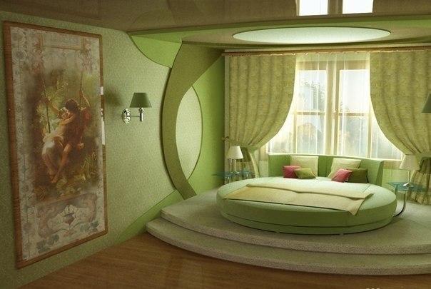 Фото оформления зеленой спальни
