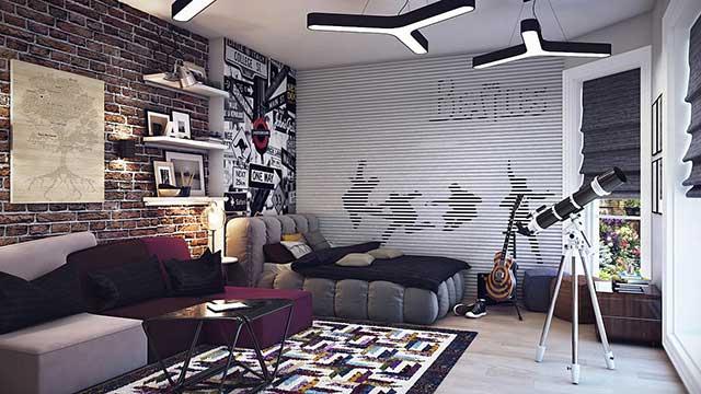 Фото оформления спальни в черно-белых тонах