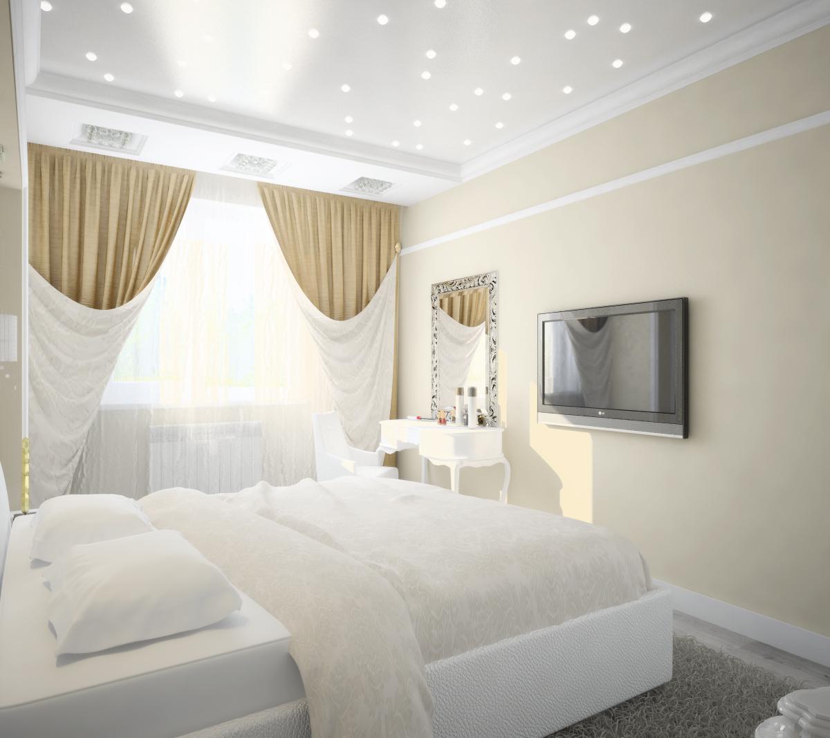 Фото спальни 5 на 5 в светлой цветовой гамме