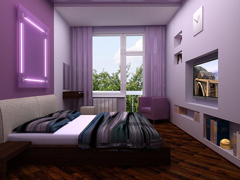 Фото фиолетовой спальни
