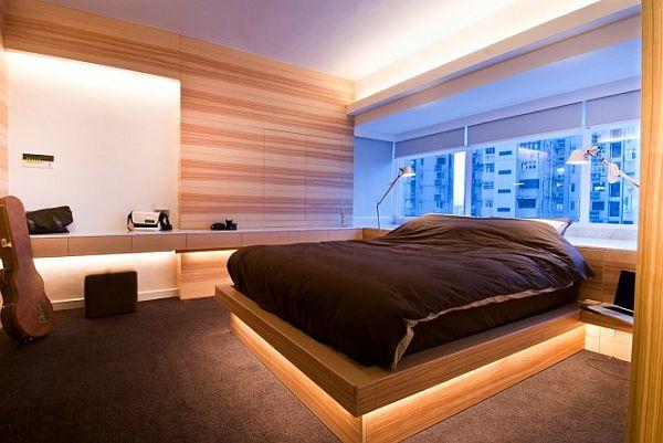 Фото спальни оформленной деревянными панелями
