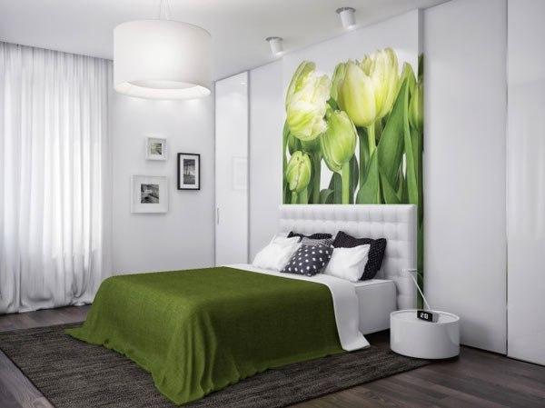 Фото оформления интерьера спальни в зеленом цвете