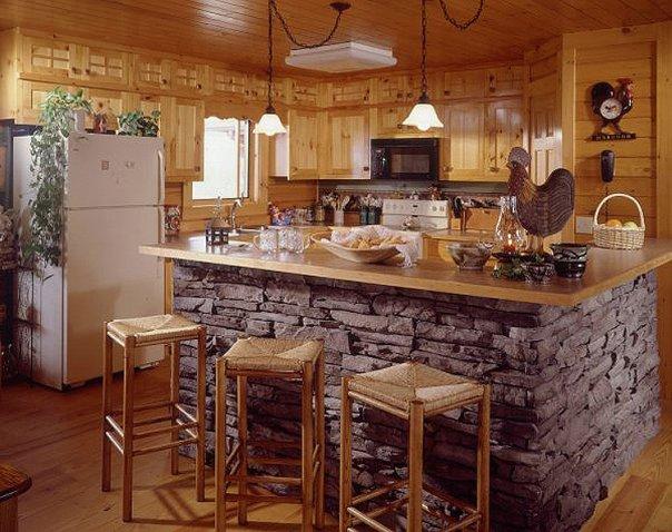 Отделка искусcтвенным камнем в интерьере кухни