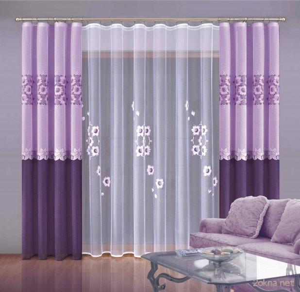 шторы сиреневые для спальни фото