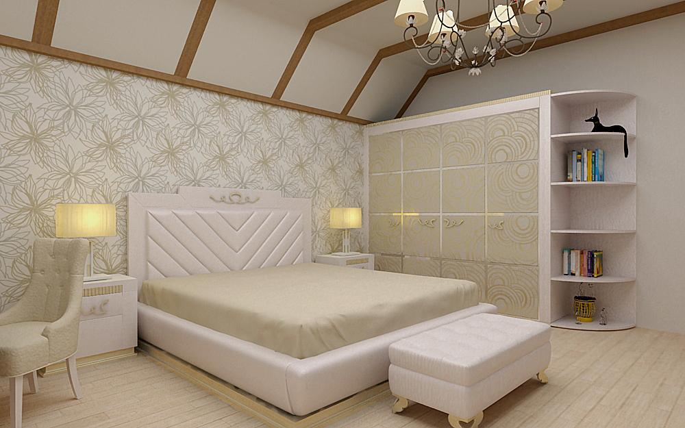Как оформить спальню на мансарде