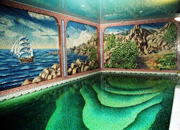 Фото оформления бассейна мозаикой