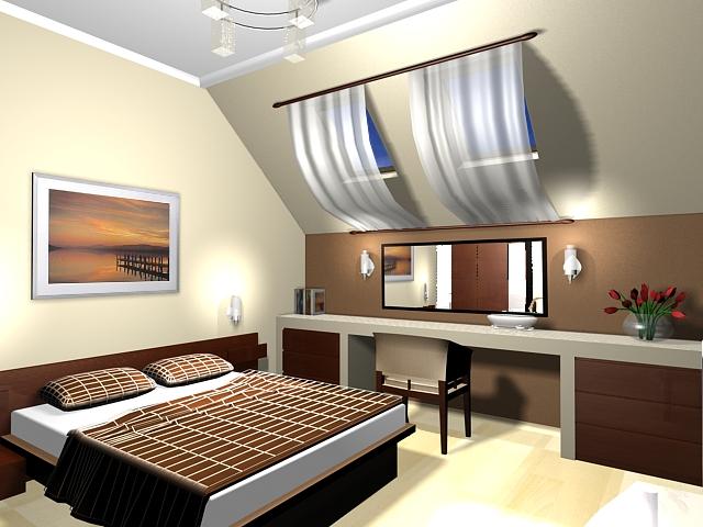 Оформление спальни-мансарды