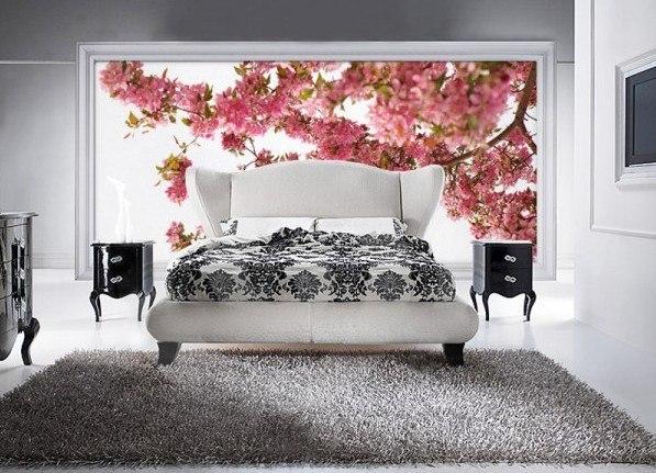 Белая спальня в современном стиле, оформление