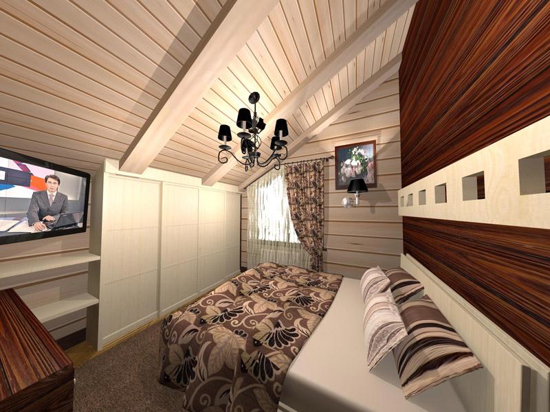 Фото оформления спальни в деревянном доме