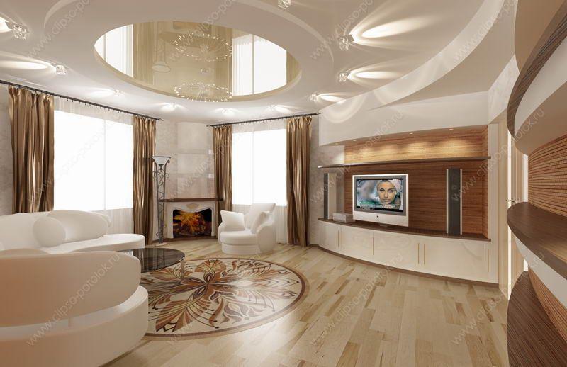 Заказать натяжные потолки в Москве для гостиной